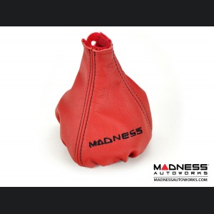 FIAT 500 Gear Shift Boot - Red Leather w/ Black Stitching and MADNESS Logo