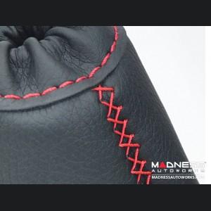 FIAT 500 eBrake Boot - Black Leather w/ Red Cross Stitching