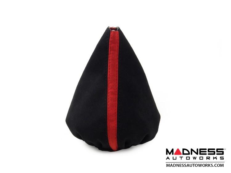 FIAT 500 Gear Shift Boot  - Black w/ Red Stripe - Suede