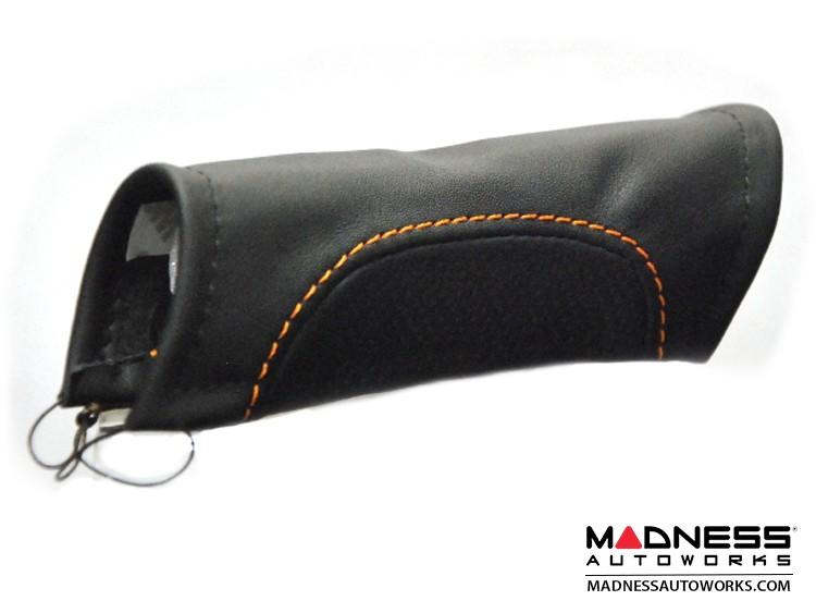 FIAT 500 eBrake Handle Cover - Leather - Black w/ Orange Stitching