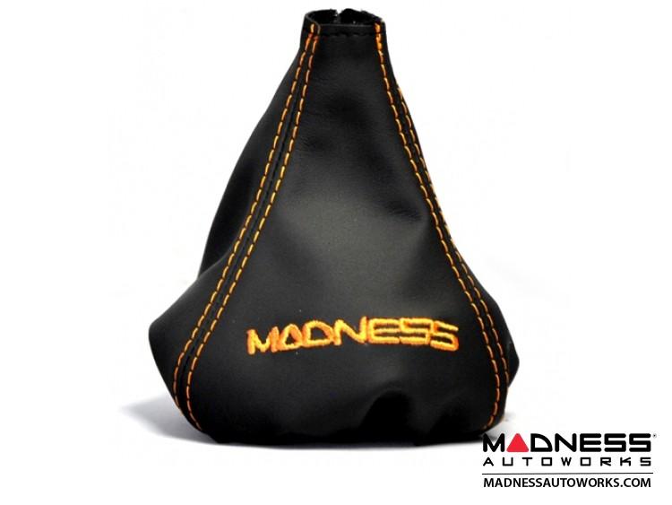 FIAT 500 Gear Shift Boot - Black Leather w/ Orange Stitching + MADNESS Logo