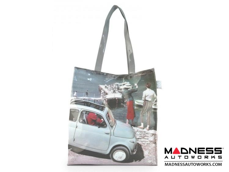 Classic Fiat 500 Shopping Bag - PVC - Light Blue Classic Fiat 500