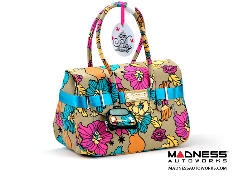 FIAT 500 Italian Ladies Handbag - Flower Collection - Large Size