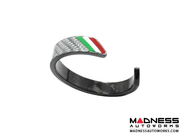 Carbon Fiber Bracelet - Italian Flag Racing Stripe Design - Silver Carbon