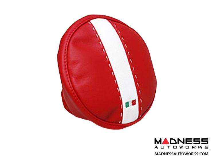 FIAT 500 Headrest Covers - Red/ White Tuxedo - Rear Set