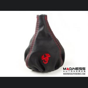 FIAT 500 Gear Shift Boot - Black Leather w/ Red Stitching and Scorpion Logo