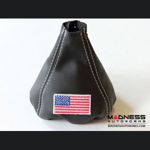 FIAT 500 Gear Shift Boot - Black Leather w/ American Flag & White Stitching