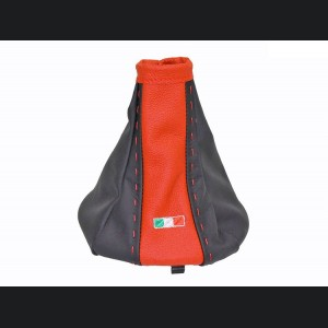 FIAT 500 Gear Shift Boot - Black and Red Leather - Tuxedo Design w/ Italian Flag