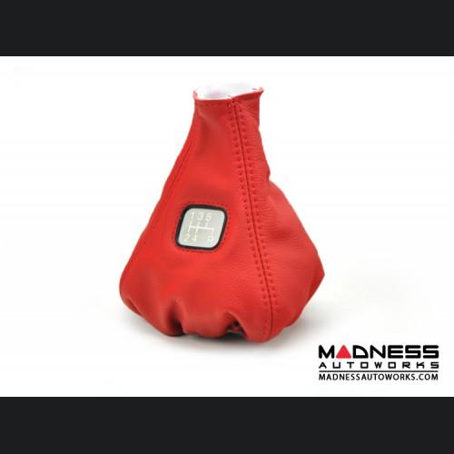 FIAT 500 Gear Shift Boot - Red Leather w/ Gear Shift Pattern