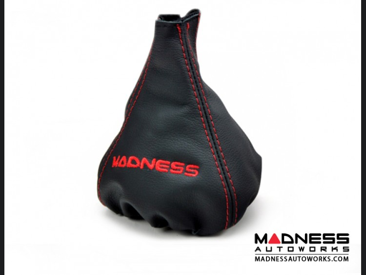 FIAT 500 Gear Shift Boot - Black Leather w/ Red Stitching and MADNESS Logo