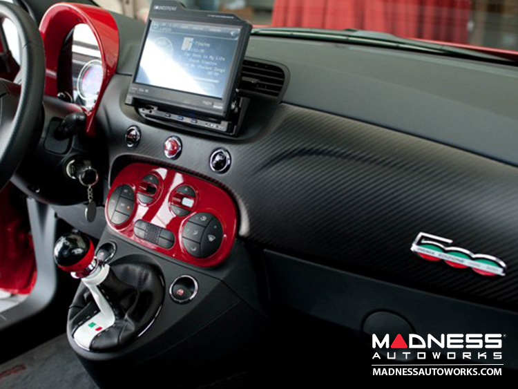 FIAT 500 Gear Shift Knob by BLACK - Carbon Fiber Top w/ Red