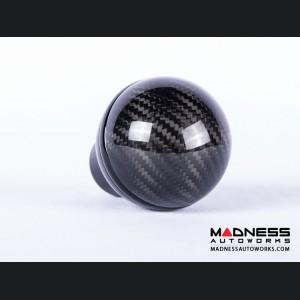 FIAT 500 Gear Shift Knob by BLACK  - Carbon Fiber Top/ Black Base and Black Side Stripe