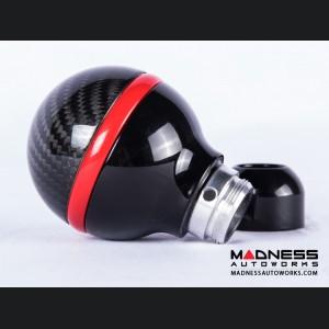 FIAT 500 Gear Shift Knob by BLACK  - Carbon Fiber Top/ Black Base and Red Side Stripe