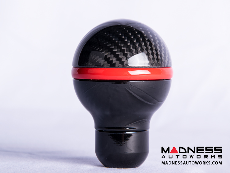 FIAT 500 Gear Shift Knob by BLACK  - Carbon Fiber Top/ Black Base and Red Side Stripe