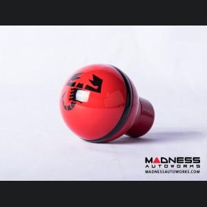 FIAT 500 Gear Shift Knob by BLACK  - Red Base w/ Black ABARTH Scorpion Logo - V1