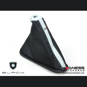 FIAT 500 eBrake Boot - Black & White Leather - Tuxedo Design w/ Italian Flag