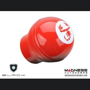 FIAT 500 Gear Shift Knob by BLACK  - Red Base w/ White ABARTH Scorpion Logo - w/ Reverse Lock Out