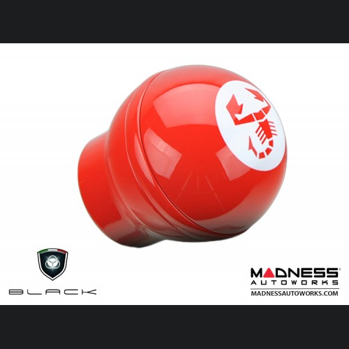 FIAT 500 Gear Shift Knob by BLACK  - Red Base w/ White ABARTH Scorpion Logo - w/ Reverse Lock Out