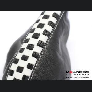 FIAT 500 Gear Shift Boot and eBrake Boot Set - Black Leather w/ White Checker Design