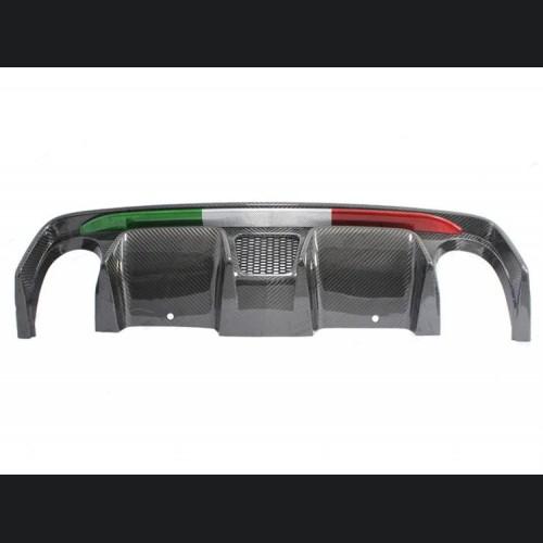 FIAT 500 Rear Diffuser - Carbon Fiber -Dual Exit - 595 Style - EU Model - Italian Flag Combo