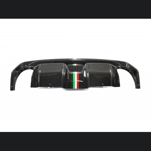 FIAT 500 Rear Diffuser - Carbon Fiber -Dual Exit - 595 Style - EU Model - Italian Stripe