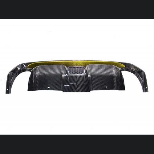 FIAT 500 Rear Diffuser - Carbon Fiber -Dual Exit - 595 Style - EU Model - Yellow Combo