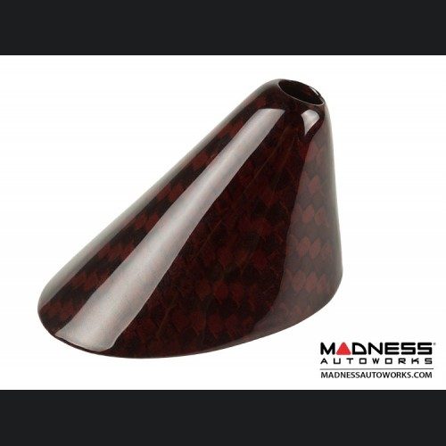 FIAT 500 Antenna Base Cover - Carbon Fiber - EU Model - Red Candy