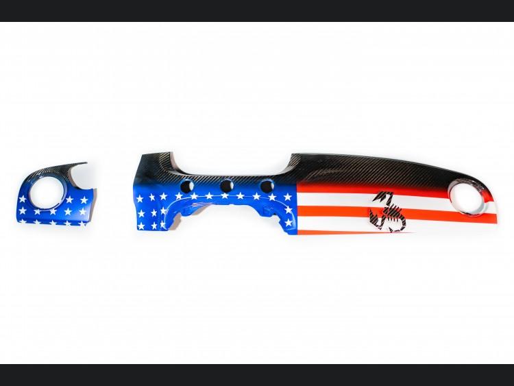FIAT 500 Custom Dashboard - Carbon Fiber - American Flag w/ Black Scorpion