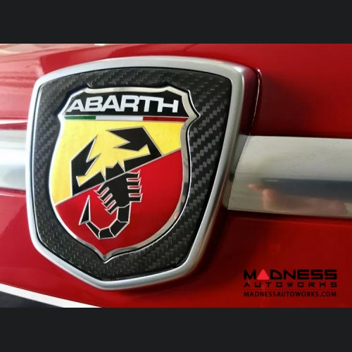 FIAT 500 ABARTH Front Emblem Frame - Carbon Fiber - Gloss