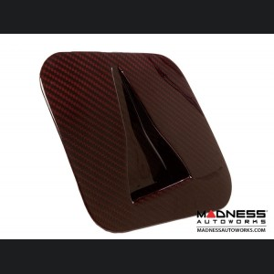 FIAT 500 Hood Scoop - ABARTH NACA Air Intake in Carbon Fiber - Red Candy Finish