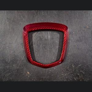 FIAT 500 ABARTH Rear Emblem Trim (1 piece) - Carbon Fiber - Red Candy