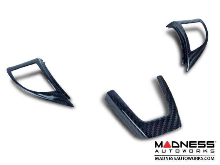 FIAT 500 Steering Wheel Trim Set - 3 pieces - Carbon Fiber