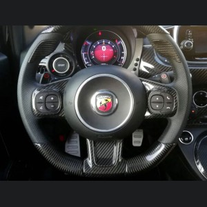 FIAT 500 ABARTH Steering Wheel Trim - Carbon Fiber - Yellow Candy - 595 Edition (2016-on)
