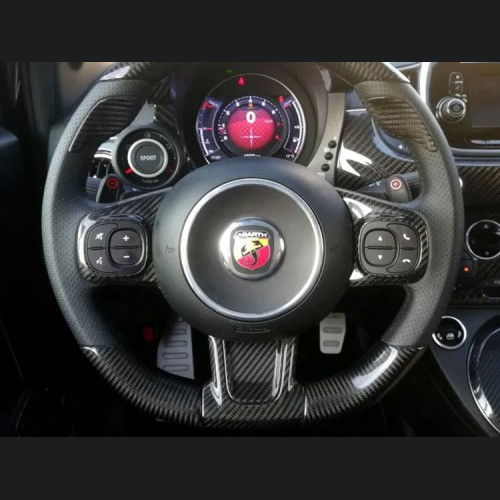 FIAT 500 ABARTH Steering Wheel Trim - Carbon Fiber - Blue Candy - 595 Edition (2016-on)