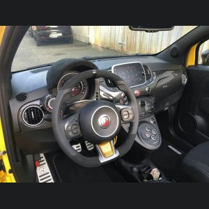 FIAT 500 ABARTH Steering Wheel Lower Center Trim Piece - Carbon Fiber - EU Model - Yellow
