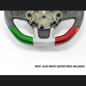 FIAT 500 ABARTH Steering Wheel Sides Cover And Center - Carbon Fiber - 595 Edition - Italian Flag