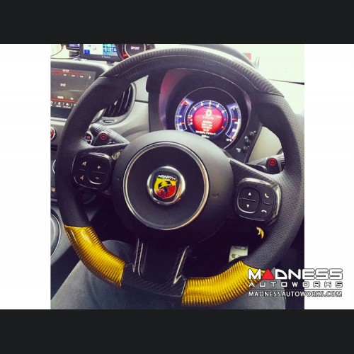 FIAT 500 ABARTH Steering Wheel Sides Cover - Carbon Fiber - Yellow - 595 Edition