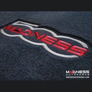 FIAT 500 Floor Mats - Premium Carpet - MADNESS - Front + Rear + Cargo Set - w/ Large 500 MADNESS Logo - w/ cut out for Bose