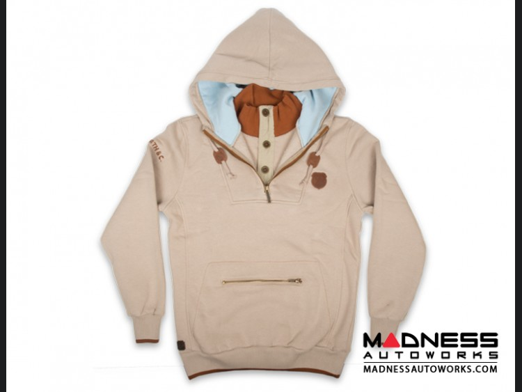 ABARTH Pullover w/ Hood - Latte w/ Brown & Aqua Accents - Piccola & Cattiva
