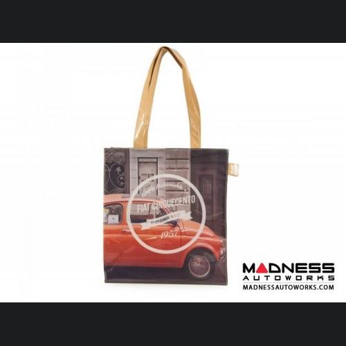 Classic Fiat 500 Shopping Bag - PVC - Red Classic Fiat 500