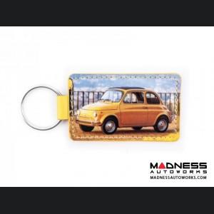 Keychain - Classic Fiat 500 - PVC - Yellow