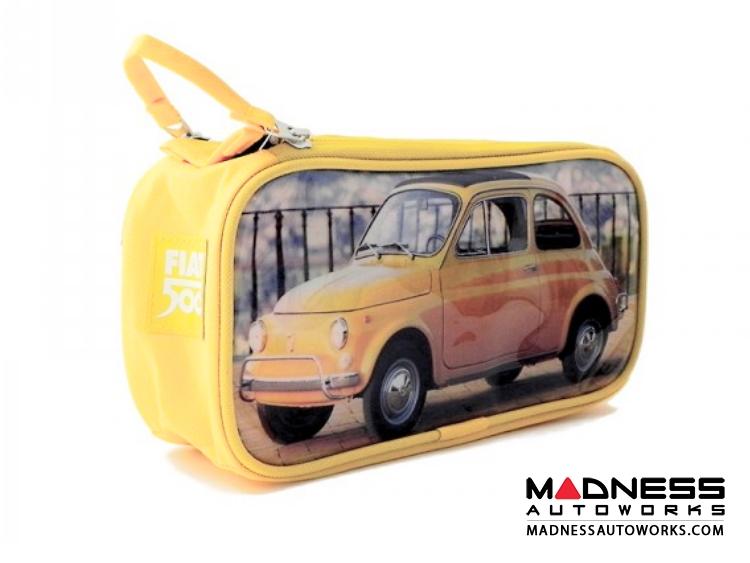 classic fiat 500 beauty case pvc yellow