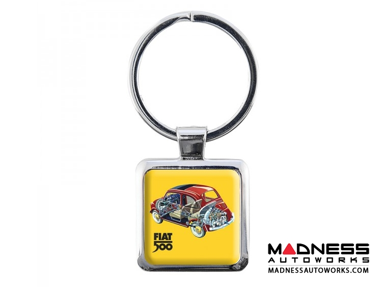 Classic Fiat 500 Keychain - Resin - Outline