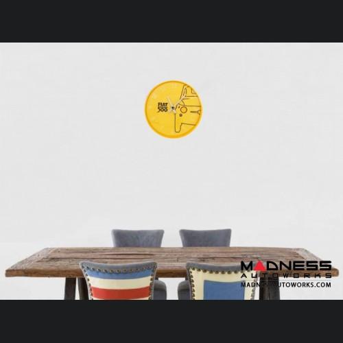Classic Fiat 500 Wall Clock - Yellow