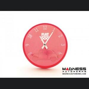 Classic Fiat 500 Wall Clock - Red