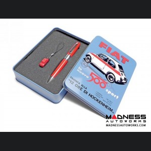 Classic FIAT 500 Pen and Keychain Gift Set - Yellow Color