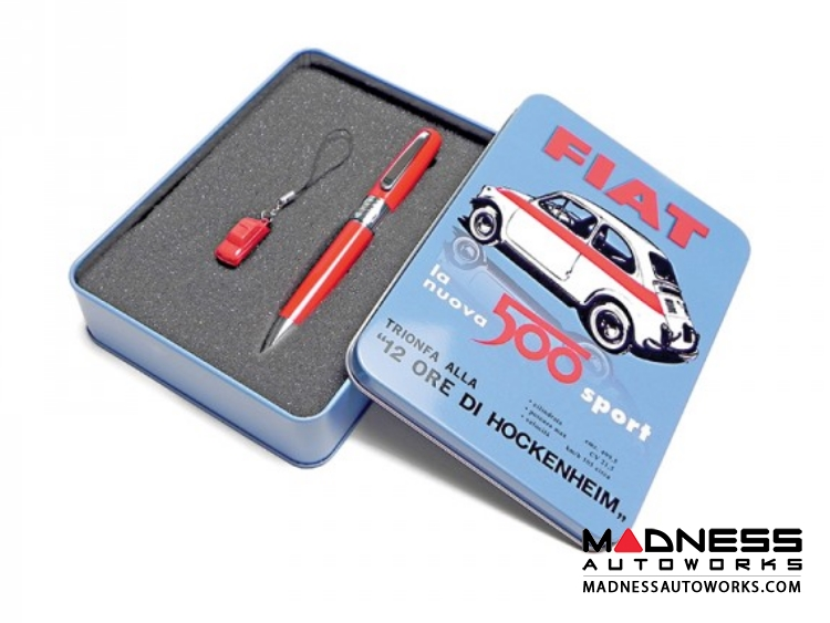 Classic FIAT 500 Pen and Keychain Gift Set - Red Color
