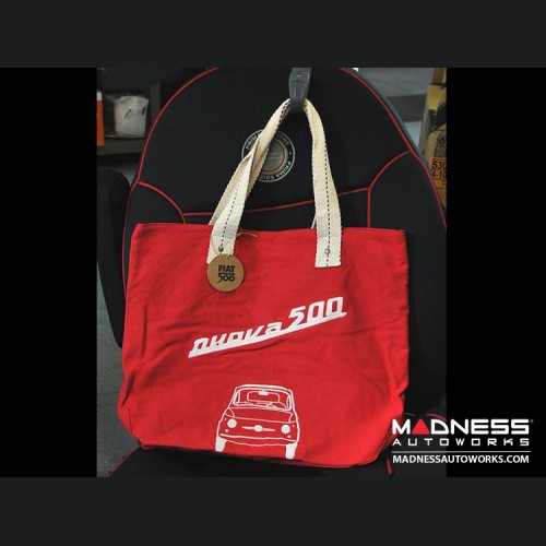 Classic Fiat 500 Cotton Canvas Bag - Red w/ Classic Fiat 500 in White
