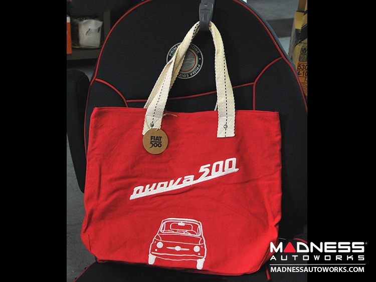 Classic Fiat 500 Cotton Canvas Bag - Red w/ Classic Fiat 500 in White