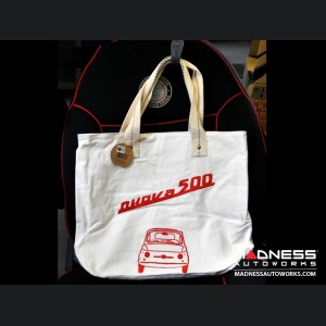 Classic Fiat 500 Cotton Canvas Bag - White w/ Classic Fiat 500 in Red